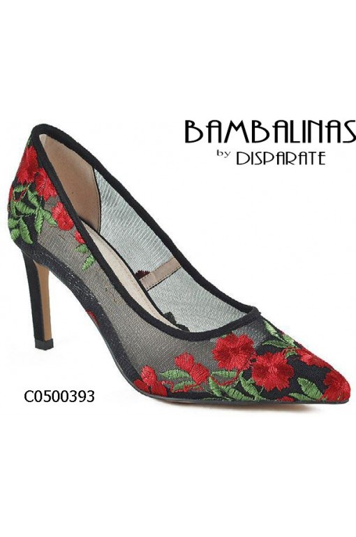 ZAPATO SALON REJILLA BORDADO FLORES PLAN