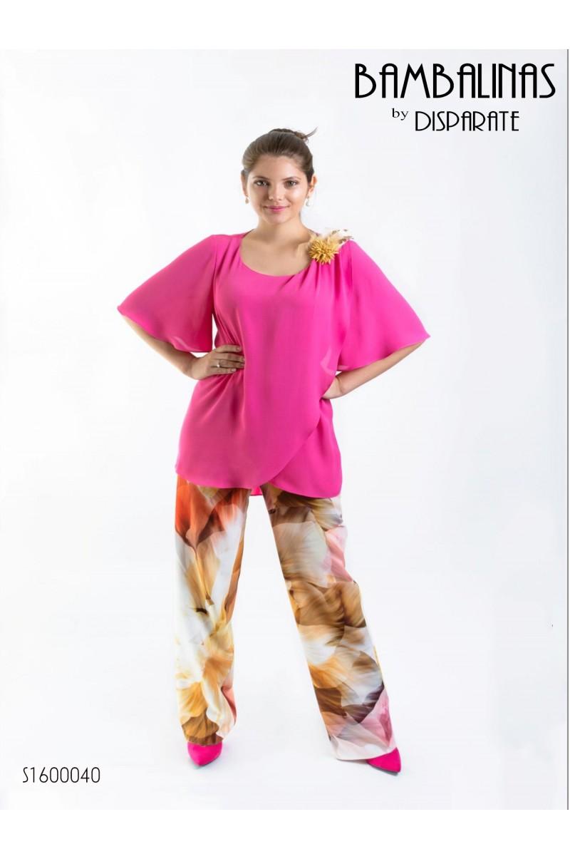 Conjunto Blusa Manga Corta Y Pantalon Estampado Color Fucsia Talla 42